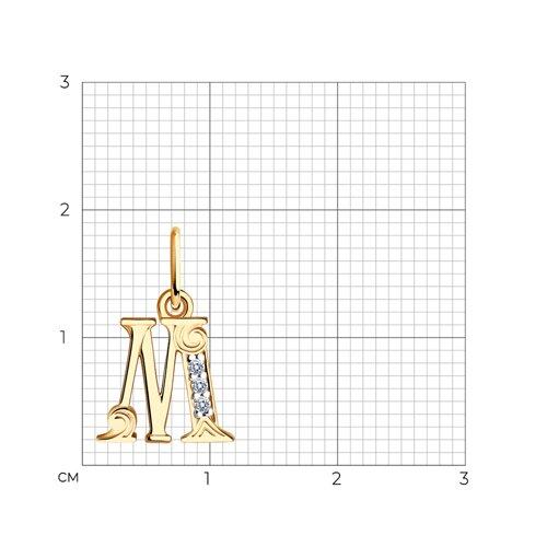 """Подвеска-буква """"М"""" из золота с фианитами 033825 SOKOLOV фото 2"""