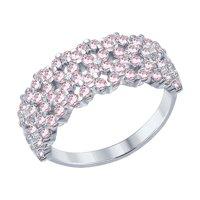 Кольцо из серебра с розовыми фианитами