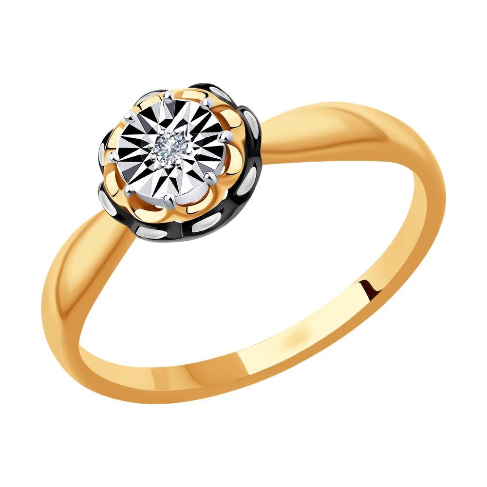 Кольцо SOKOLOV из комбинированного золота с бриллиантом sokolov кольцо из комбинированного золота с бриллиантом 1011940 размер 17 5