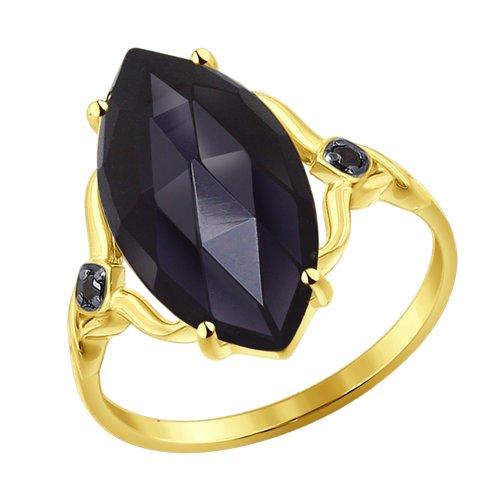 Кольцо из желтого золота с агатом и  (714223-2) - фото