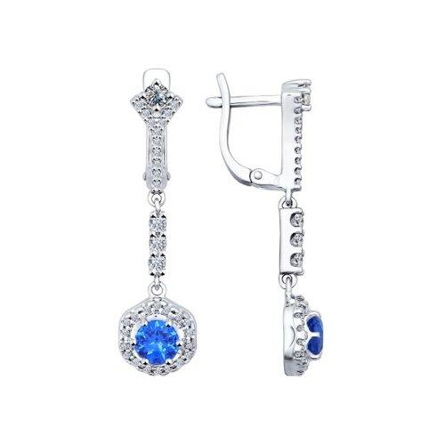 Серьги длинные из серебра с синими фианитами