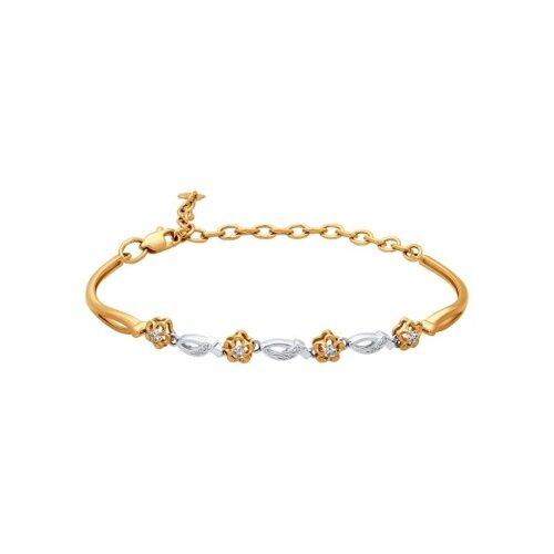 Браслет жёсткий из комбинированного золота с бриллиантами