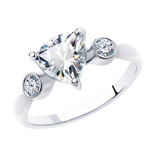 Кольцо из серебра с фианитами (94012835) - фото