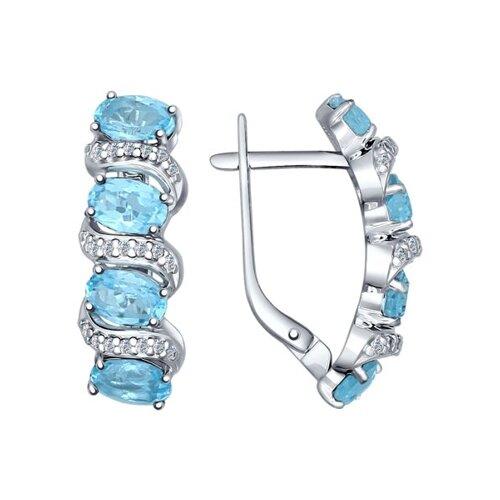 Серьги из серебра с голубыми топазами и фианитами
