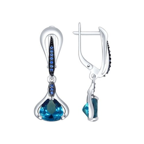 Серьги из серебра с топазами и синими фианитами