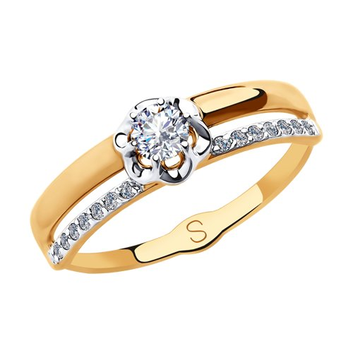 Кольцо из золота с фианитами (018171) - фото