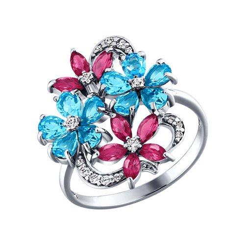 Серебряное кольцо с родолитами и топазами