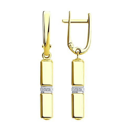 Серьги из золота с бриллиантами и керамическими вставками