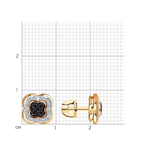 Серьги из золота с бесцветными и чёрными бриллиантами 7020058 SOKOLOV фото 2
