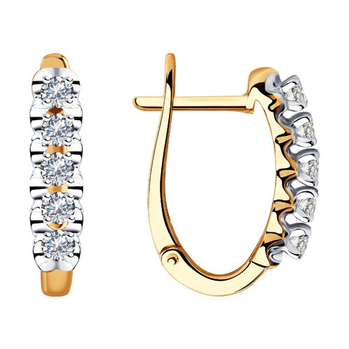 Серьги из золота с бриллиантами (1021354) - фото