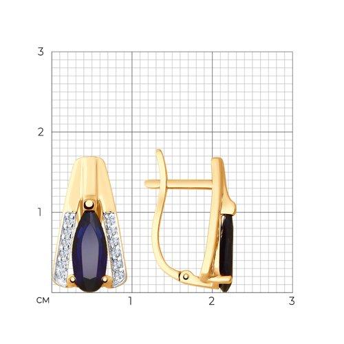 Серьги из золота с синими корунд (синт.) и фианитами 725586 SOKOLOV фото 2