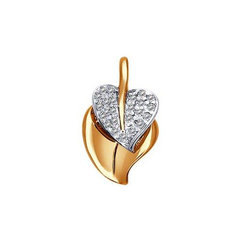 Фото - Подвеска-лист SOKOLOV из золота c фианитами «Березовый лист» подвеска змея из золота c черными фианитами
