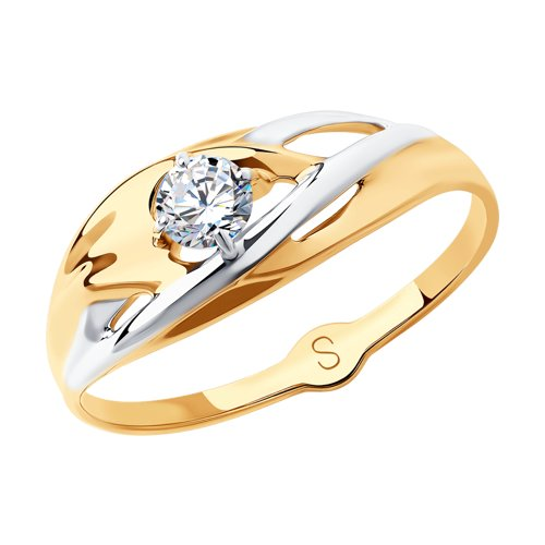 Кольцо из золота с фианитом (018030) - фото
