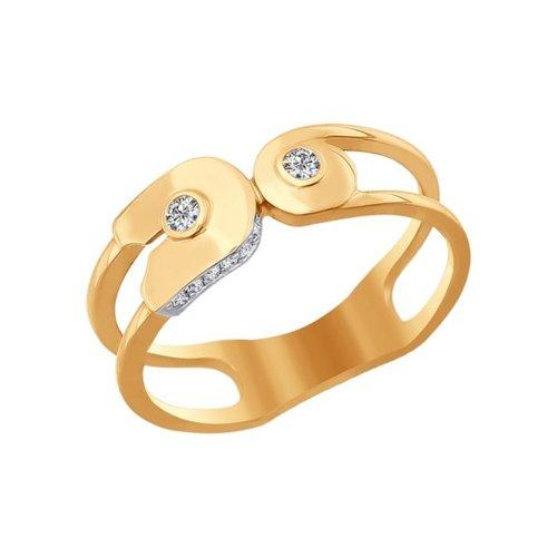 Кольцо SOKOLOV из золота с фианитами золотое кольцо оберег sokolov