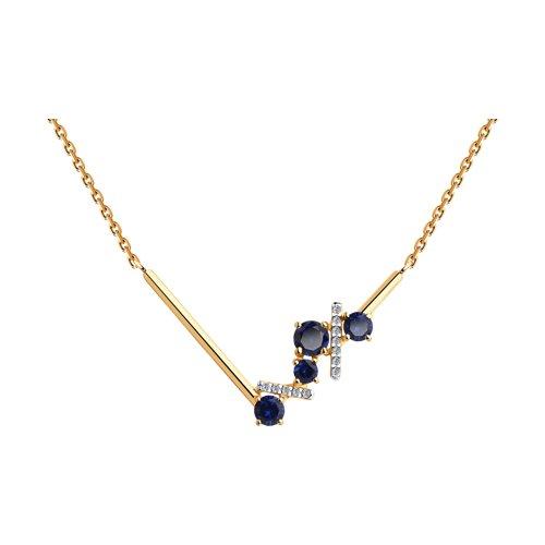 Колье из золота с синими корунд (синт.) и фианитами (770189) - фото