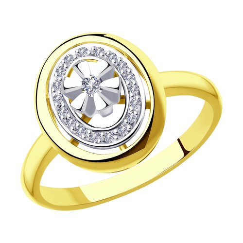 Кольцо из комбинированного золота с бриллиантами (1011910-2) - фото