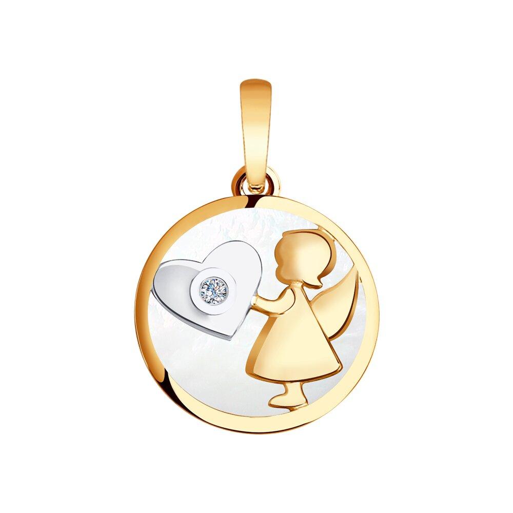 Подвеска «Ангел» SOKOLOV из золота с бриллиантом и белым перламутром