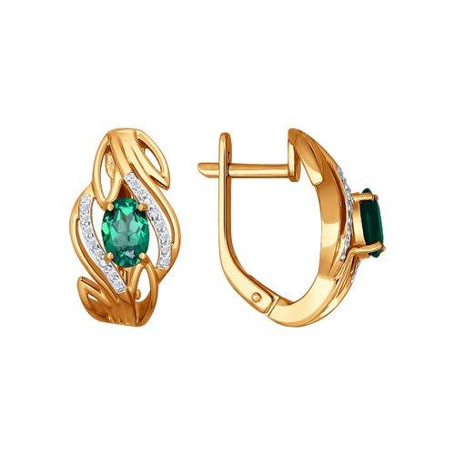Серьги из золота с бриллиантами и изумрудами (3020404) - фото