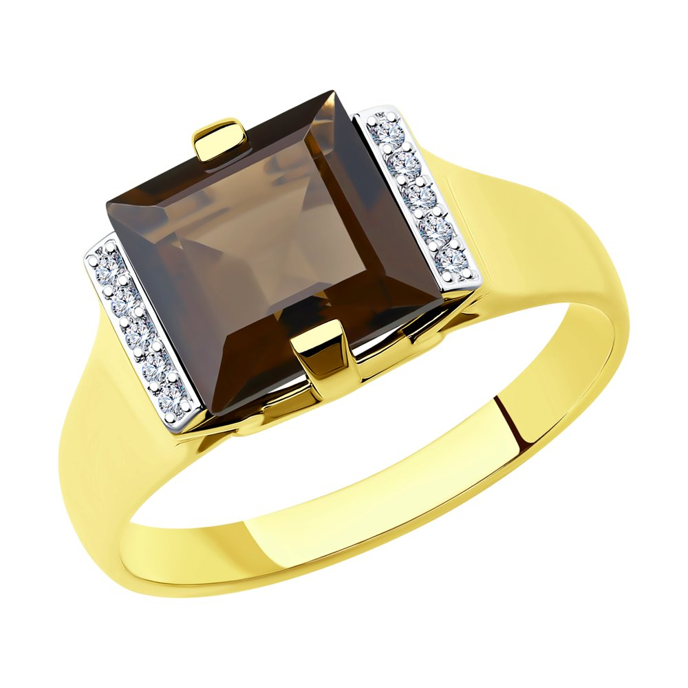 Кольцо SOKOLOV из желтого золота с раухтопазом и фианитами