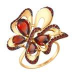 Кольцо «Бабочка» из золота с гранатами и красными фианитами