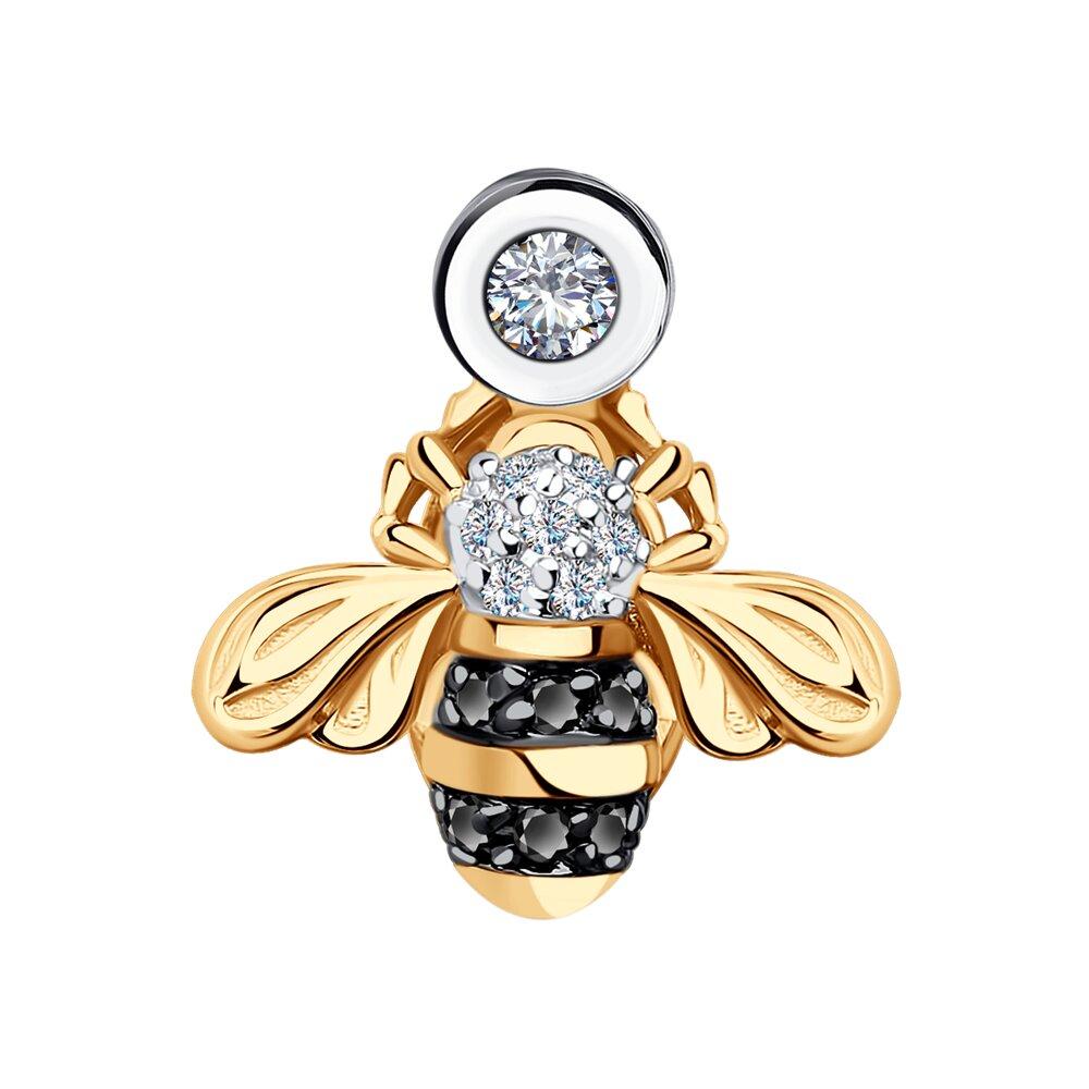 Фото - Подвеска SOKOLOV из золота с бриллиантами и черными облагороженными бриллиантами подвеска змея из золота c черными фианитами