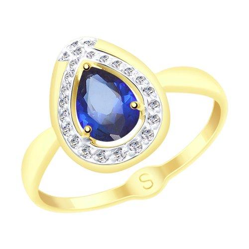 Кольцо из желтого золота с корундом и фианитами (715146-2) - фото