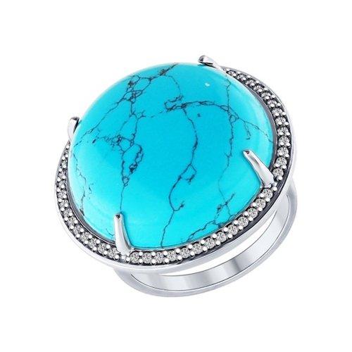 Кольцо из серебра с бирюзой синтетической и фианитами (83010035) - фото