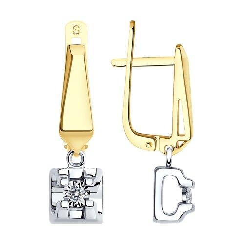 Серьги из комбинированного золота с алмазной гранью с бриллиантами (1021248-2) - фото