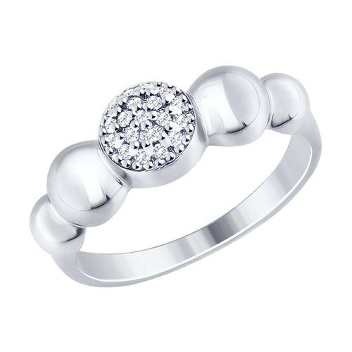 Кольцо из серебра с фианитами (94012468) - фото