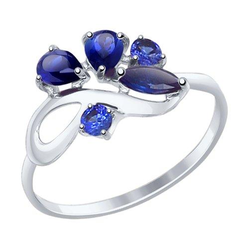 Кольцо из белого золота с синими корундами (синт.)