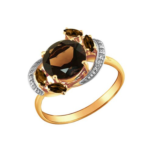 цена на Золотое женское кольцо с раухтопазом и фианитами
