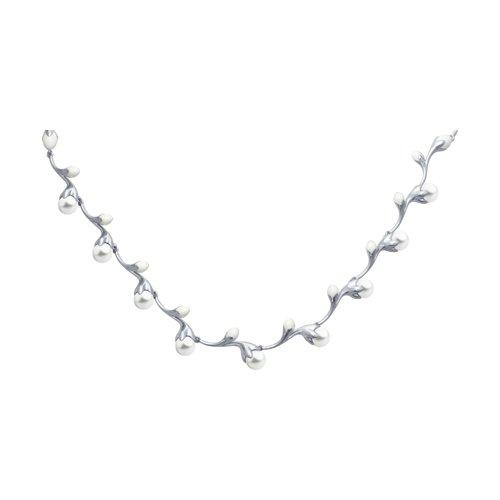 Колье из серебра с эмалью с жемчугом (94070112) - фото