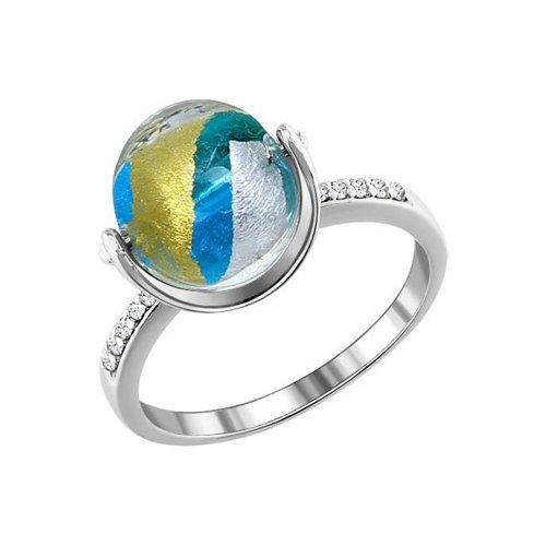 Серебряное кольцо с фианитами и муранским стеклом SOKOLOV