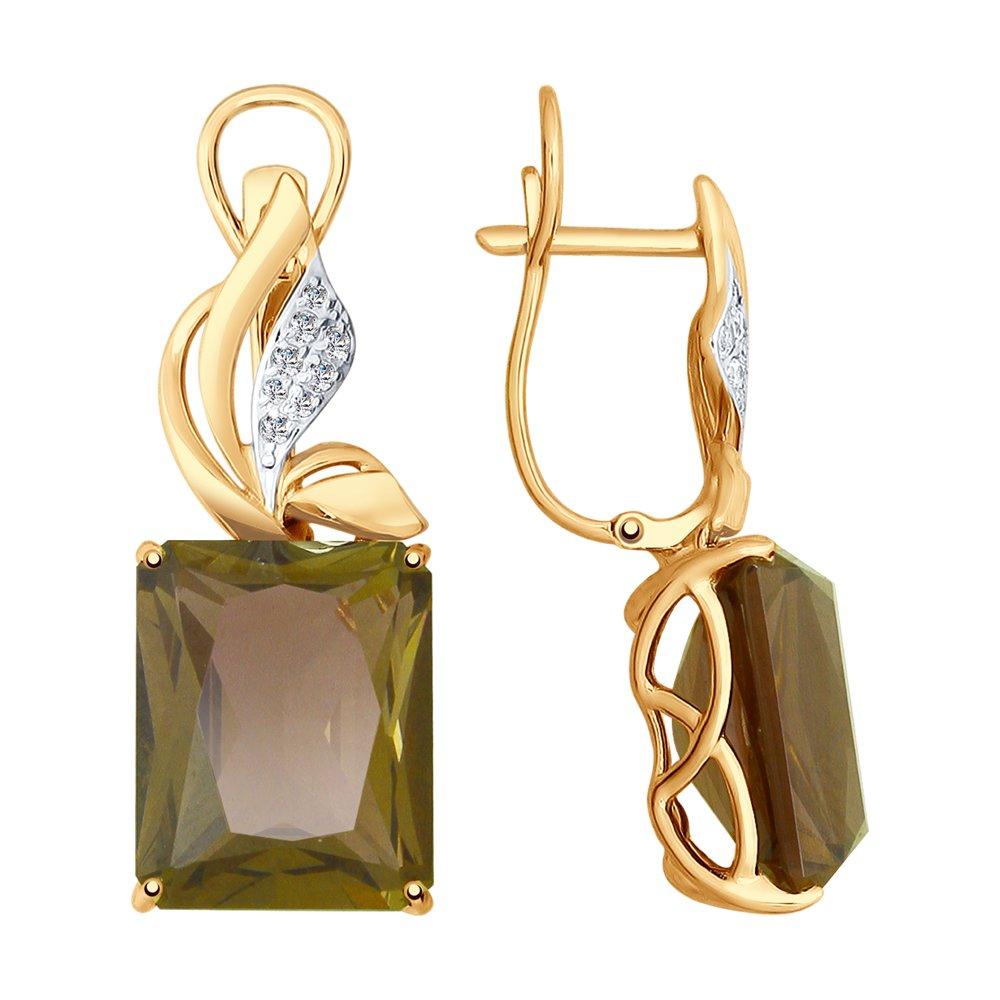 Серьги SOKOLOV из золота с ситаллами султанит и фианитами фото