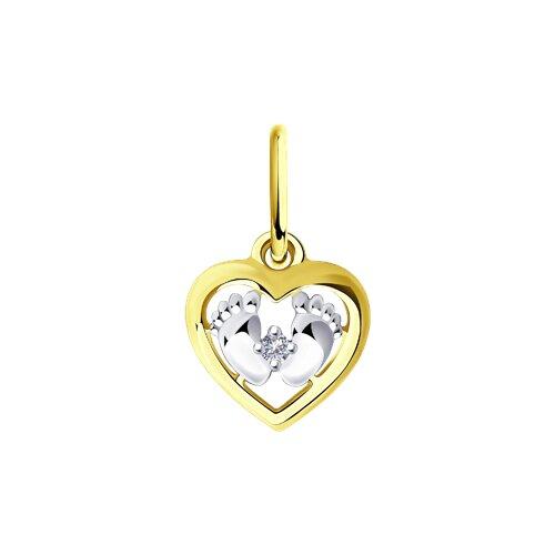 """Подвеска """"Пяточки младенца"""" из желтого золота с бриллиантом"""