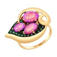 Кольцо из золота с красными опалами и зелеными фианитами