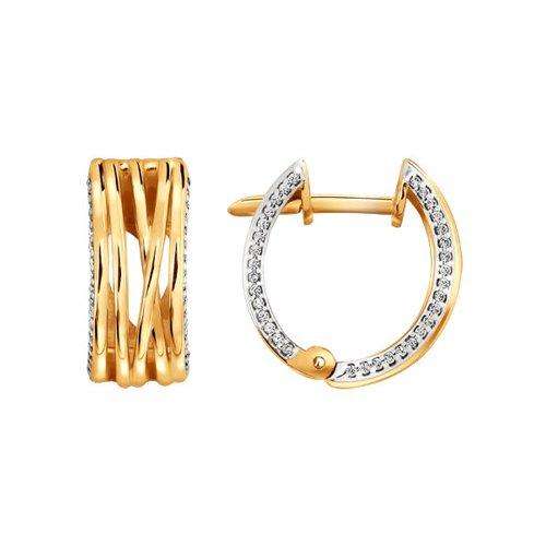 Серьги из золота с фианитами (026185) - фото