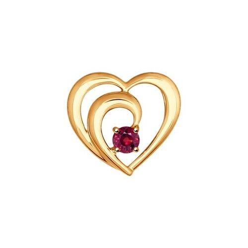 Подвеска «Сердце» из золота с рубином
