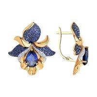 Серьги из золота с синими корундами (синт.) и бесцветными, голубыми и синими фианитами