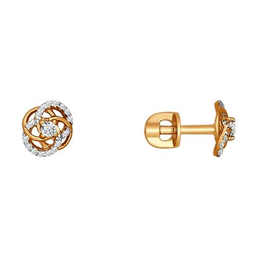 цена на Красивые серьги-гвоздики SOKOLOV из золота