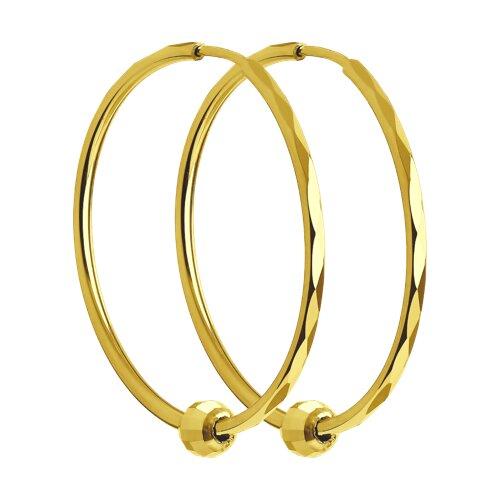 Серьги из желтого золота с алмазной гранью (140121-2) - фото