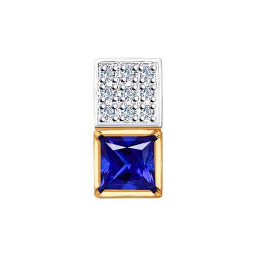Подвеска из золота с бриллиантами и синим корундом (синт.) (6032055) - фото
