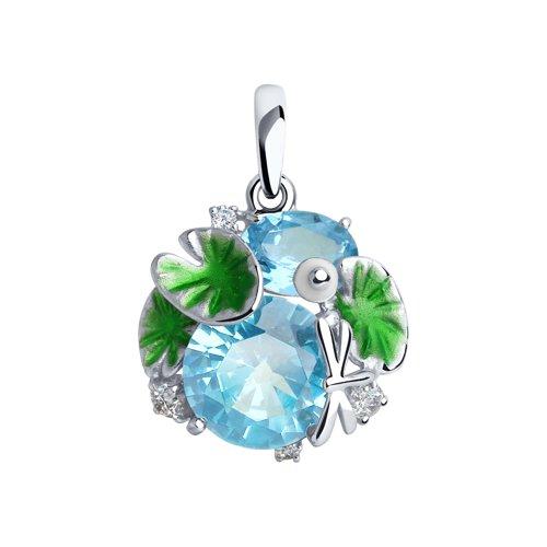 Подвеска из серебра с эмалью и голубыми ситаллами и фианитами