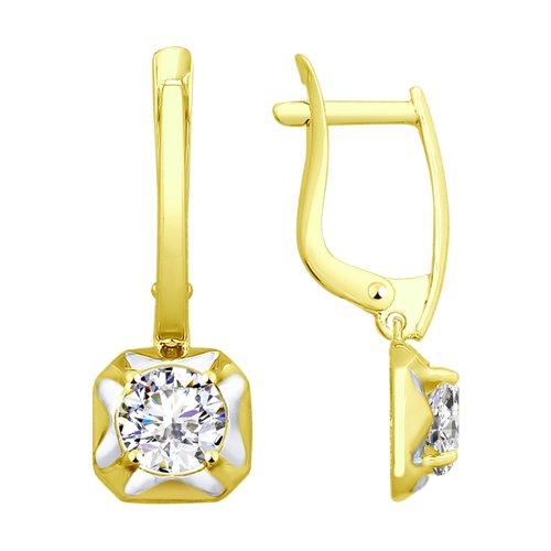 Серьги из желтого золота с фианитами (027669-2) - фото