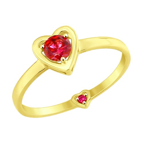 Кольцо из желтого золота с красными фианитами (017531-2) - фото