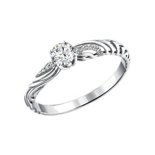Кольцо из белого золота с бриллиантами (1011081) - фото