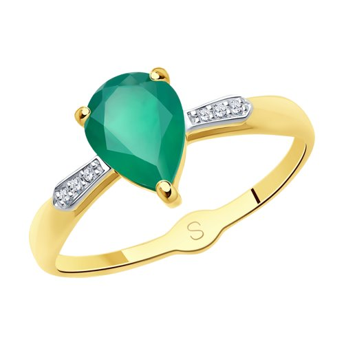 Кольцо из желтого золота с агатом и фианитами