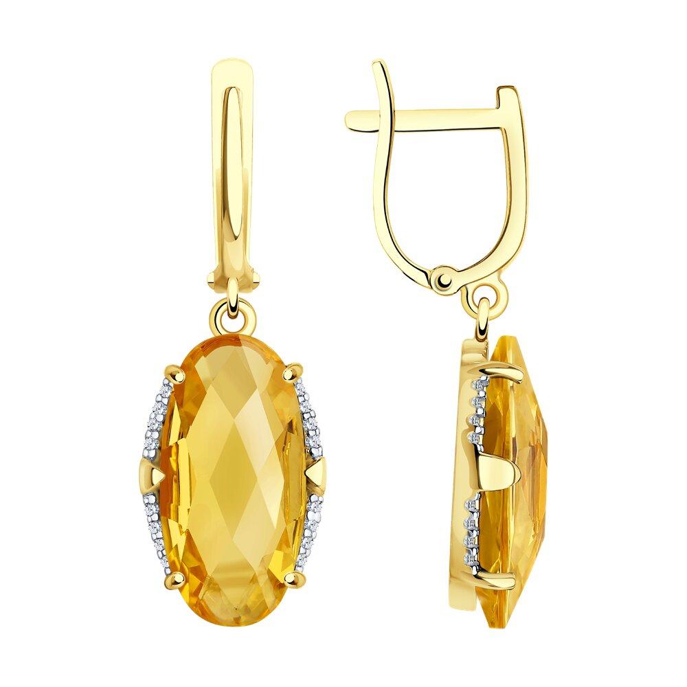 Серьги SOKOLOV из желтого золота с цитринами и фианитами серьги sokolov из желтого золота с цитринами