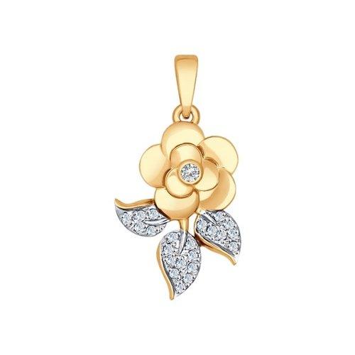 Подвеска «Роза» из золота с фианитами
