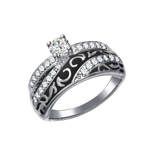 Кольцо из серебра с эмалью с фианитами (94011133) - фото